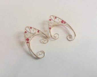 Red and gold elf ear cuffs