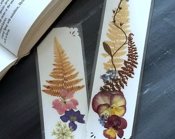FERNS AND FLOWERS -  Set of 2 Real Natural Maine Pressed Garden Flowers and Ferns, Handmade Floral Art, Gardener, Teacher Reading Accessory