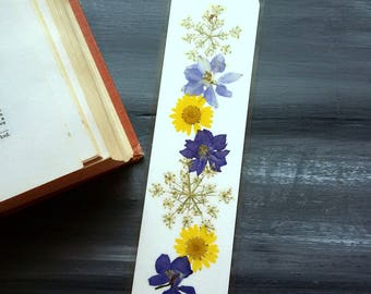 PRESSED FLOWER BOOKMARK - Preserved Natural Flowers, Art Collage, Colorful Daisy, Larkspur, Forget me nots Garden Flowers, Library Gift