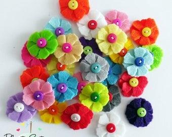 Felt applique, 10 pieces Felt Flower applique, Felt Flower Embellishment, Craft Supplies, felt die cut, felt brooch, headband supplies