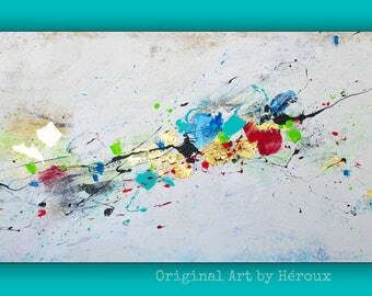 "Large abstract art with gold leaf, large Abstract painting, expressionism paintings, Original canvas artwork, Acrylic 24""x48"" Canvas"