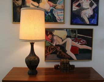 Mid Century Modern Fortune ceramic lamp and shade big