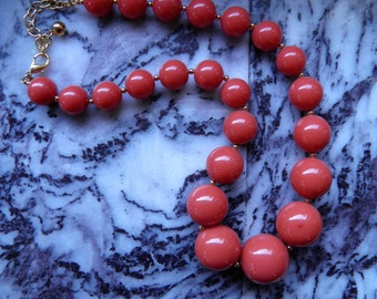 Joan Rivers Coral Colored Large Bead Necklace