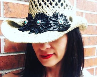Women's Straw Cowboy hat with handmade leather flowers