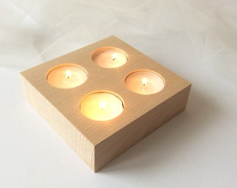 Wooden Tea Lights Holder / Square Wooden Tea Lights Holder / Modern Candle Holder / Wooden Centerpiece