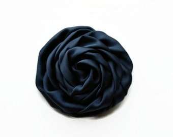 "Sale Navy Satin Rolled Rose. 2.5"" NAVY Satin Rosette. Set of 2 Flowers. ~ Hazel Collection."