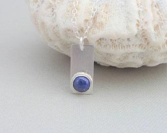 Lapis Lazuli and Sterling Silver Pendant - Semi-Precious Stone Pendant - Free UK Postage