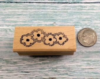 Small 4 Flower Rubber Stamp