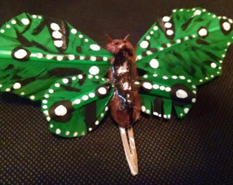 Hand-made and painted green butterfly large hair clip