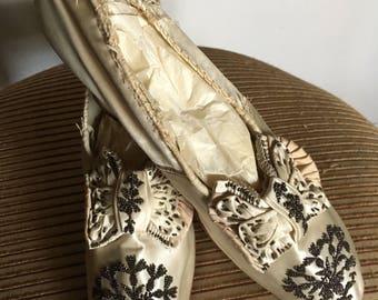 Stunning Pair of Antique Beaded Silk Wedding Shoes