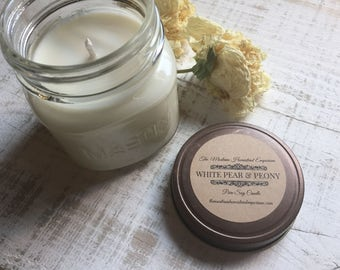 White Pear & Peony  scented all natural soy candles floral scents pure soy candles pear scent peony scent Mothers day Montana made candles