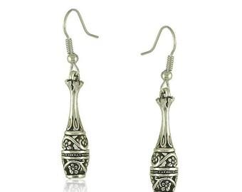 Pair of Handmade Antique Silver Mandala Bottle Earrings, Bohemian Earrings, Teardrop Earrings 9x30mm