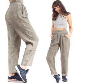 High Waist Trousers 80s Mom Pants Crushed Minimalist Loose Pants 1980s Tapered Gray High Waisted Pleated Pockets Women Pants size Medium