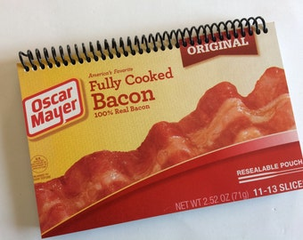 BACON Journal Notebook Spiral recycled gift