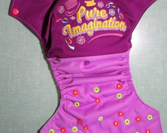 """One Size Cloth Diaper Embroidery """"Pure Imagination"""""""
