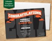 Black and Orange Graduation Invitation Template, High School Graduation Invitation, College Graduation Invitation, Graduation Party 2017