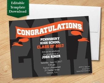 Black and Orange Graduation Invitation Template, High School Graduation Invitation, College Graduation Invitation, Graduation Party 2017