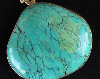 Pendant #54...Turquoise and sterling pendant