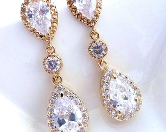 Bridal Earrings - Clear White Pearop and Round Cubic Zirconia Drops with Yellow Gold Plated Peardrop CZ Post Earrings