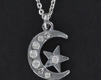MOON with STAR Necklace - Pewter Charm with Clear Stones on a FREE Plated Chain