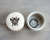 Small Bumble Honey Bee Ring or Pill Box Anniversary Wedding Jewelry Cute Keepsake Nature Birthday Gift Decorative Pottery Photography Prop