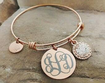 Monogrammed Bangle - Monogram Bracelet - Bridesmaid Bracelet - Maid of Honor Bracelet - Bridesmaid Gift - Monogram Gift - Sister Gift