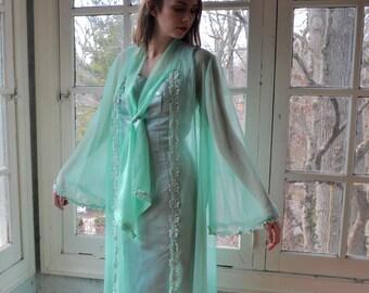 Silvery Sea Foam Mint Green Party Dress/Vintage 1960s/Satin Formal Dress/Size Small