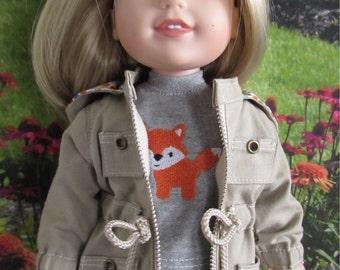Go Everywhere Khaki Twill Anorak Jacket, Denim Jeans, Fox T-shirt fits 14.5 inch dolls such as WellieWishers
