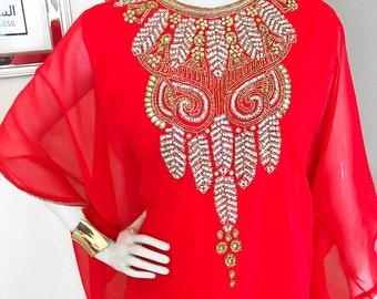 Ruby Red Embellished Caftan