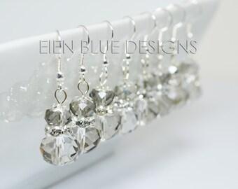 Gray Crystal Earrings, Stacked Crystal Earrings, Smokey Crystal Earrings, Nickel Free Crystal Earrings, Cheap Gray Crystal Earrings,