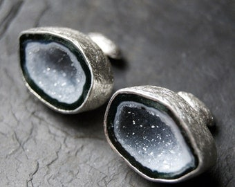 Arctic White and Grey Geode Cufflinks in Sterling Silver