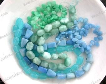 Sale Beads, Destash Beads, 5 Strands Aqua Light Blue Seafoam Green Semi Precious Stone Beads, Glass Beads, Destash Supplies  DS-758