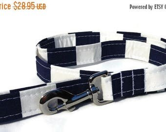 EASTER SALE Dog Leash in Navy and White Cabana  Stripe