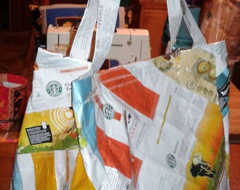 Patchwork Casserole Tote Coffee Bags Lined with top closure
