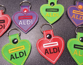I Love ALDI Heart Quarter Keeper Keychain FOB
