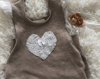 up cycled tan knit 9M girl romper, winter romper headband set, ready to ship sitter prop set