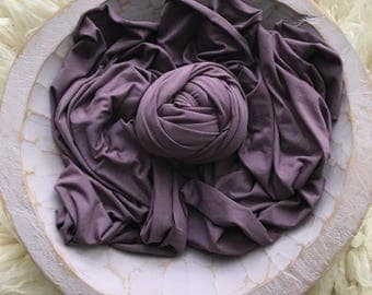 Bamboo stretch wrap in Eggplant PLUM soft stretch wrap for newborn photography, very soft and stretchy baby wrap, shipped