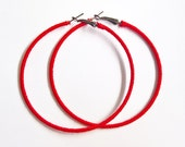 Red Hoop Earrings, Large Hoops, Oversized Earrings, Woven Red Earrings, UK Jewellery