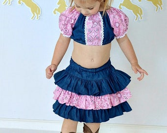 Cowgirl OUtfit, Crop top, Ruffle SKirt, Pigtail Bows, Denim and Pink, Country Cowgirl, Pageant Casual Wear Outfit