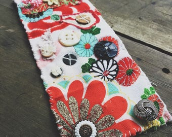 Japanese textile cuff | hand sewn from vintage kimono, buttons and beads, textile cuff, Eco-friendly jewelry, bright colors