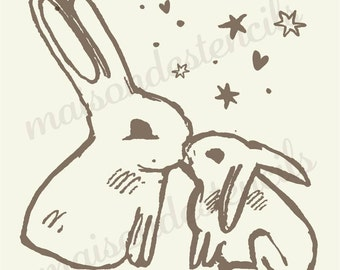 Bunnies kissing  12x12 Stencil  for burlap crafts, painting and signs