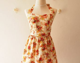 Clearance SALE Vintage Inspired Dress Romantic Autumn Tangerine Rose Garden Dress Neck Tie Style - Once Upon A Time