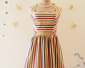 Clearance SALE Cute Sun Dress Retro stripe dress sundress colorful vintage inspired dress summer dress party dress rainbow party dress -S...