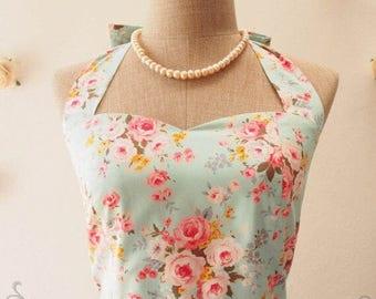 Floral Bridesmaid Prom Dress Blue Floral Tea Dress Summer Vintage Floral Dress Blue with Pink Rose Party Dress -XS,S,L