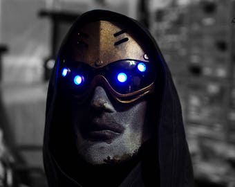 Hivemind v.2.5 Dystopian Cyberpunk distressed light up costume future steampunk goggles - Ready to ship.