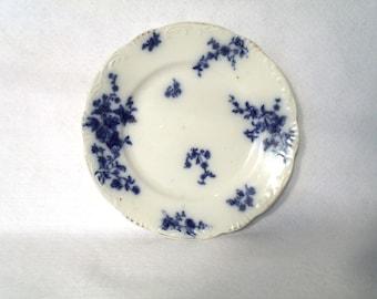 """Grindley 7 inch Dessert Plate, Flow Blue """"Rose"""""""