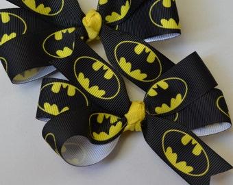 Set of Two Batman Inspired Bows Super Hero