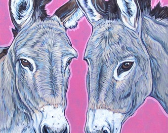 "Custom Pet Portrait Painting on Canvas in Acrylics 10"" x 10"" of 2 Donkeys, Horses, Ponies, Dogs, Cats, Livestock Animal Portrait OOAK Gift"