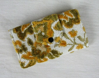 Vintage 1960s Wallet 60s Tapestry Wallet Green and Yellow Floral Carpet Fabric