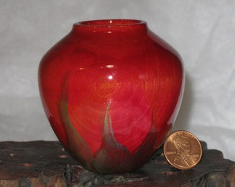 Dyed & Flaming Turned Willow Wood Pot